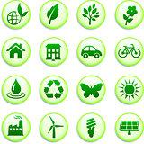 Green Environmental Buttons