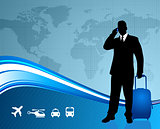 Businessman traveler with world map background