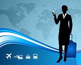 businesswoman traveler with world map