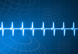 Pulse heart rate with wire frame globes internet background