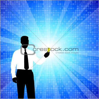 business man silhouette with light bulb