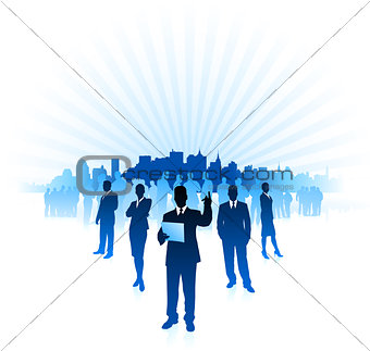 businessman and businesswoman on city skyline internet backgroun