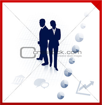 business team silhouettes on corporate background
