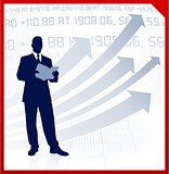 businessman with a book on corporate finance background