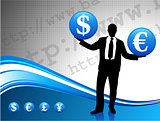 Young business man silhouette with currency symbols