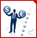 Young business man silhouettes with currency symbols