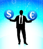 Young business man with currency symbols