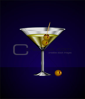 martini glass cocktail with olives
