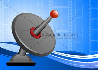 Satellite dish on film reel background