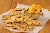 flatbread crackers with cheddar cheese