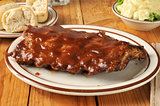 Barbecued ribs with potato salad