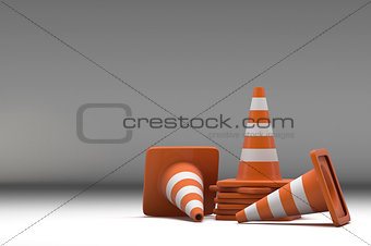 3d group traffic cone on white background