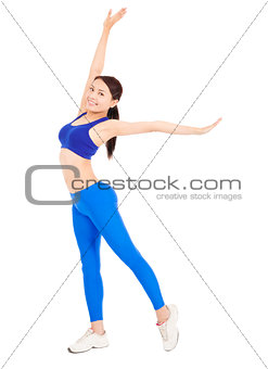 beautiful  woman stretching body and warming up