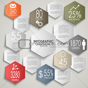 Abstract colorful hexagon info graphic poster template
