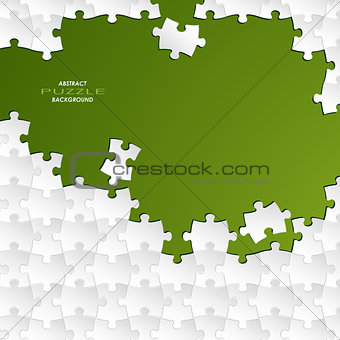 Abstract white group puzzle with green  background