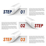 Set of colorful sample steps stickers template