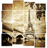Eiffel tower vintage retro in tiled effect, Paris