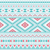 Tribal seamless pattern, aztec blue and pink background