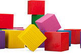 Wooden blocks, stack of colorful cubes, childrens toy isolated o