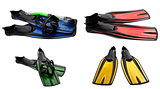 Set of multicolored swim fins, mask and snorkel for diving
