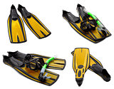 Set of yellow flippers, mask, snorkel for diving with water drop