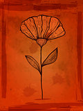 Vector flower on grungy orange background with blots and splashe