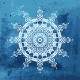 Vector white snowflake on watercolor blue background