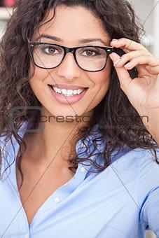 Woman Girl Wearing Geek Glasses