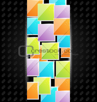 Abstract metal background with colorful squares