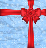 Festive packing with gift bow, snowflakes texture