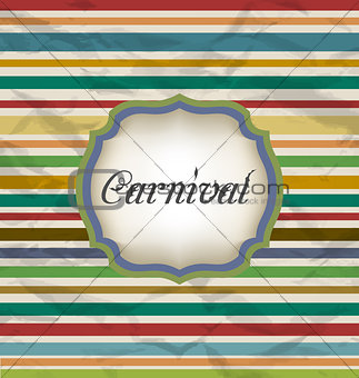 Old colorful card with advertising header for carnival