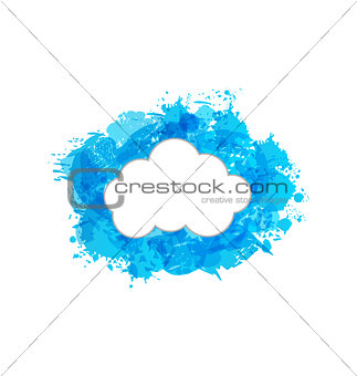 Grungy frame with cloud isolated on white background