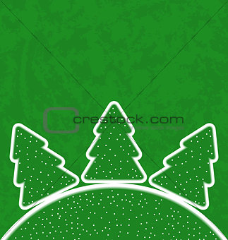Green paper cut-out set christmas tree