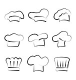 Set of chef hats isolated on white background, sketch style