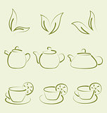 Herbal tea, set cups and teapots