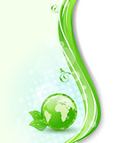 Background with global planet and eco green leaves