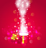 Christmas background with open magic gift box