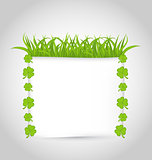 Nature invitation with grass and shamrocks for St. Patrick's Day