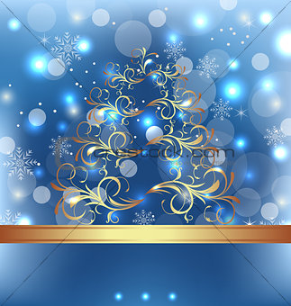 Celebration card with abstract Christmas floral tree