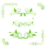 Set green floral elements with eco leaves isolated (2)