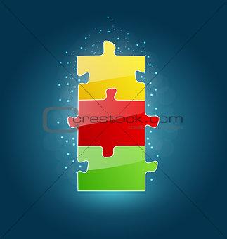 Business concept with set puzzle pieces for success venture