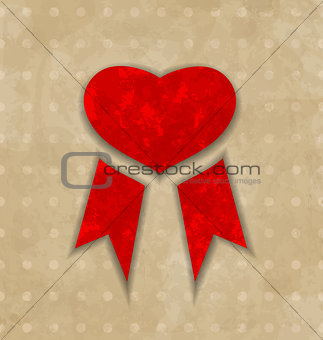 Award ribbon heart for Valentines day, vintage design