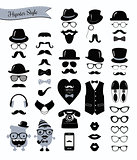 Hipster Black and White Retro Vintage Vector Icon Set