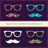 Hipster Icons with Geometric Grunge Background Set.
