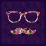 Hipster Icon with Geometric Grunge Triangle Background.