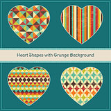 Heart Shapes with Textured Geometric Grunge Background Set. Vector Illustration