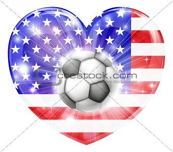 American soccer heart flag
