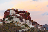 Evening Sunset Potala Palace Profile Lhasa Tibet