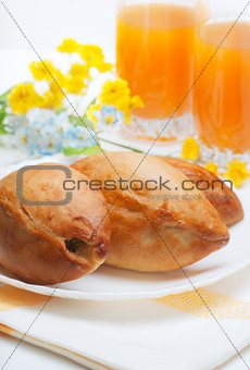Three appetizing pie and orange juice