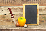 vegetables on the wooden background